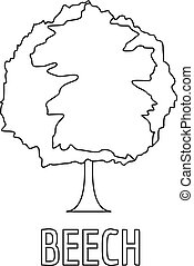 Beech icon, outline style.