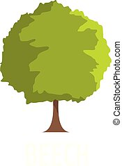 Beech tree icon, flat style