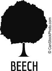 Beech tree icon, simple black style