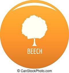 Beech tree icon vector orange