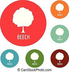 Beech tree icons circle set vector