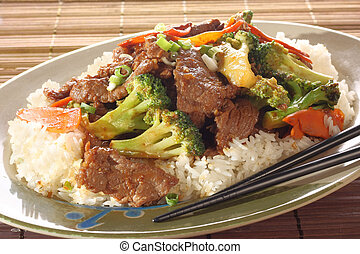 Beef and broccoli chicken.
