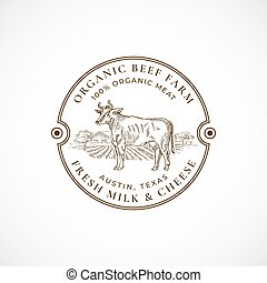 Beef and Milk Farm Framed Retro Badge or Logo Template. Hand Drawn Cow and Farm Landscape Sketch with Retro Typography. Vintage Sketch Emblem. Isolated.