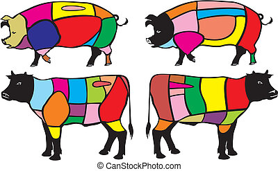 beef and pork cuts - divide pork and beef carcass into ...