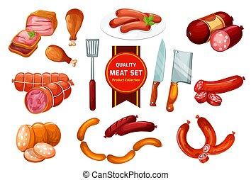 Beef and pork meat sausage, butcher shop