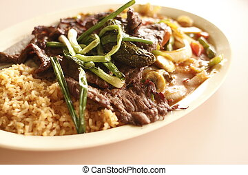 Beef and shrimp with vegetables