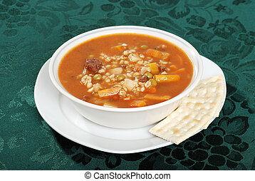 beef barley soup with crackers