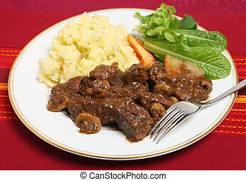 Beef Bourguignon dinner