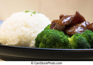 Beef Broccoli with Rice - The classic dish of beef, broccoli...