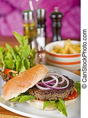 Beef burger in a bun with salad - Beef burger in a bread bun...