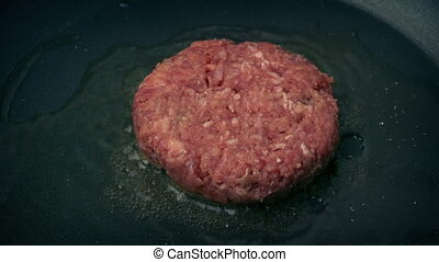 Beef Burger Put In Pan And Cooks