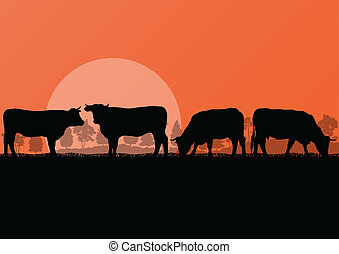 Beef cattle and milk cow herd countryside farm in wild nature mountain forest landscape illustration background vector