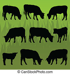 Beef cattle detailed silhouettes illustration background...