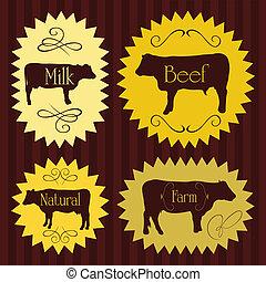 Beef cattle food labels illustration