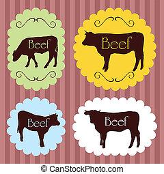Beef cattle food labels illustration background
