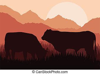 Beef cattle in wild nature landscape illustration