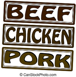 Beef chicken and pork