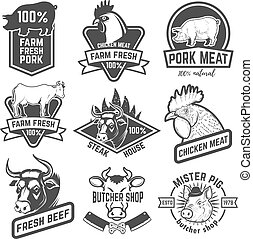 Beef, chicken, pork meat labels. Butchery. Design elements...