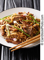 Beef Chow Fun - Beef stir-fried with rice noodle, bean...
