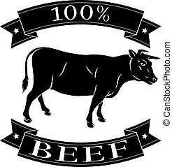 Beef cow 100 percent label with cow or bull and reading 100...