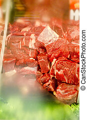 beef cubes on sale in supermarket