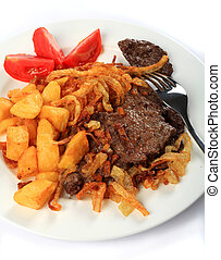 Beef escalopes with crispy onions - Traditional Austrian...