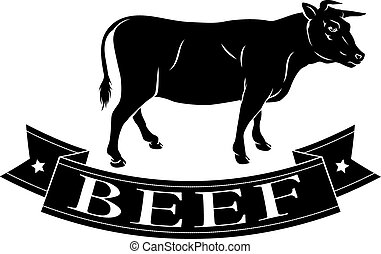 Beef food icon of a cow and banner reading beef
