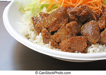 Beef Goulash Serving with Carrot and Lettuce on a Textured ...