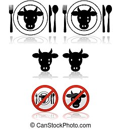 Beef icons - Icon set showing a cattle head combined with a...