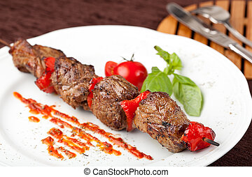 Beef Kebab on a white plate