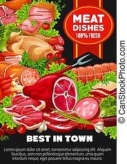 Beef, lamb and pork meat, sausages, seasonings