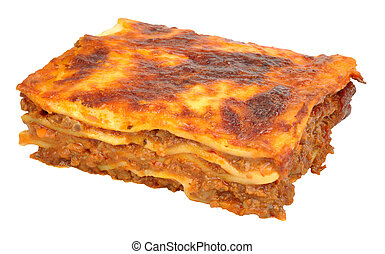 Beef Lasagne Portion - Portion of beef lasagne layered pasta...