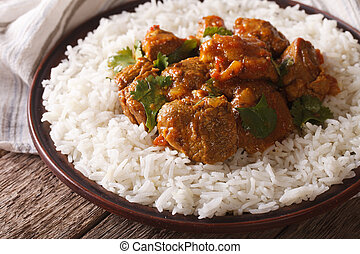 Beef Madras with basmati rice close-up on a plate. horizontal