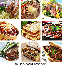 Beef Meals Collage - Collage of delicious beef meals. ...