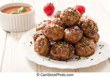 Beef meat balls - Beef meatballs in the plate. Selective ...