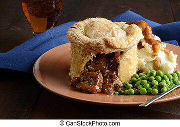 beef meat pie with vegetables and gravy