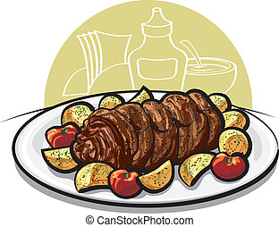 Beef meatloaf with roasted potato