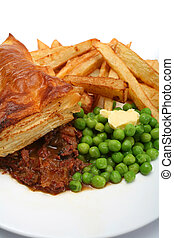 Beef pie chips and peas