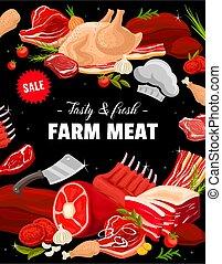 Beef, pork, ham, bacon and turkey meat