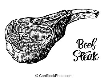 Beef, pork or lamb Red meat hand drawn sketch. Engraved raw ...