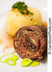 Beef roulade on a plate