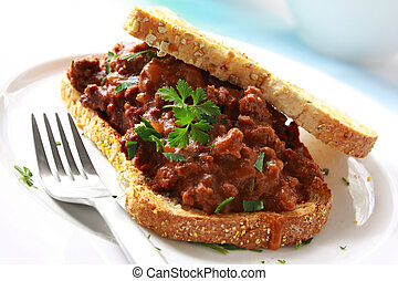 Beef Sandwich - Sandwich of savory ground beef on toasted ...