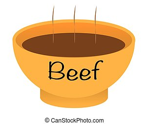 A beef soup bowl over a white background