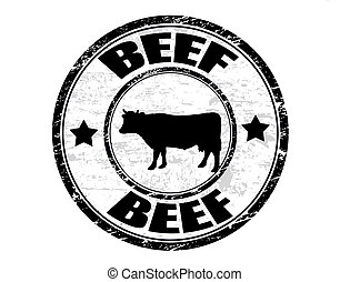 Beef stamp - Grunge rubber stamp with a cow silhouette and...
