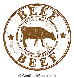 Beef stamp - Brown grunge rubber stamp with a cow silhouette...