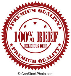 Rubber stamp with text 100% Beef, vector illustration