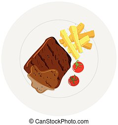 Beef steak and fries on plate