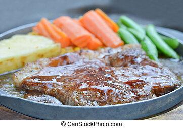 beef steak and vegetable