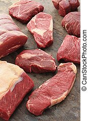beef steak cuts - selection of bef steak cuts