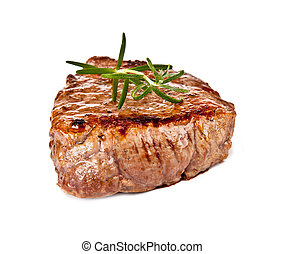 Beef steak - Delicious beef steak isolated on white ...